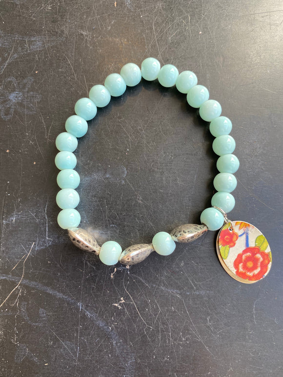 Light Blue Beaded with Silver Hearts Tin Charm Bracelet