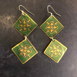 Double Green and Gold Floral Tin Earrings