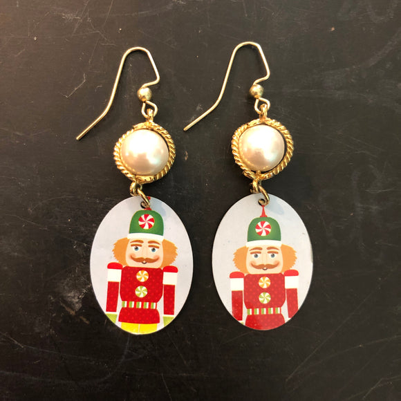 Faux Pearl Nutcracker Tin Earrings
