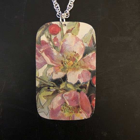 Pastel Floral Rectangle Tin Necklace