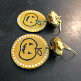 Pumpkin Circle Tin Earrings with Gold Braided Bead