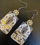 Grey and Gold Filigree Tin Earrings with Rhinestones