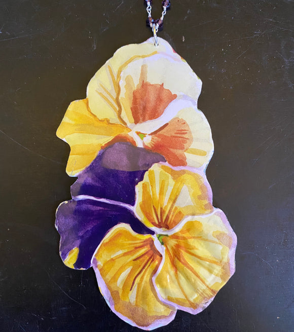 Yellow and Purple Pansies Tin Necklace