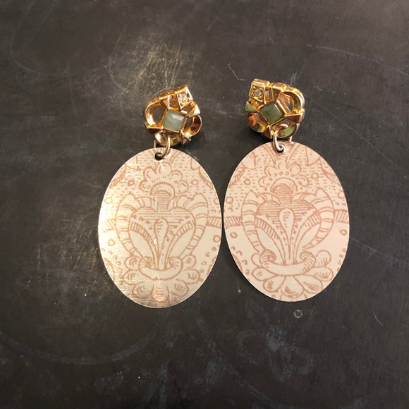 Oval Light Henna with Reclaimed Post Tin Earrings