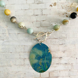 Blue Waterfall with Amazonite Beads Tin Necklace