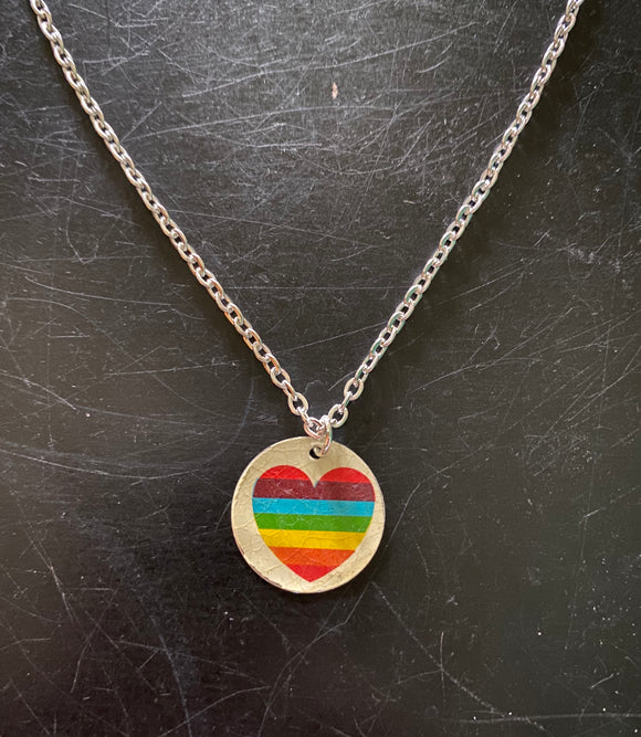 Rainbow Heart On Silver Tin Necklace