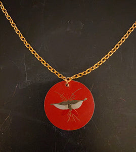 Moth on Red Tin Necklace