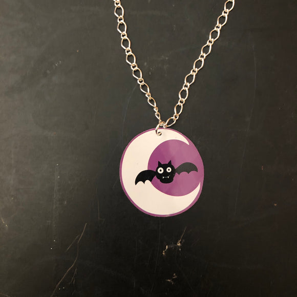 Small Crescent Moon with Bat Tin Necklace