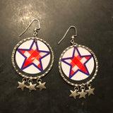 Red and White Checkered Stars with Hoops Tin Earrings