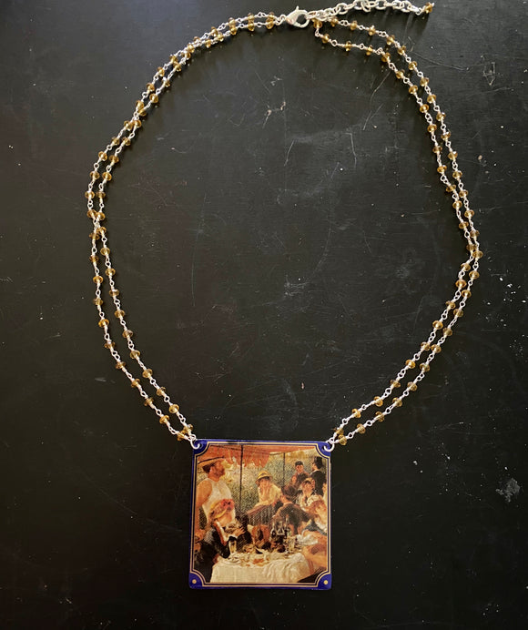 Renoir Luncheon Tin Necklace with Beaded Chain