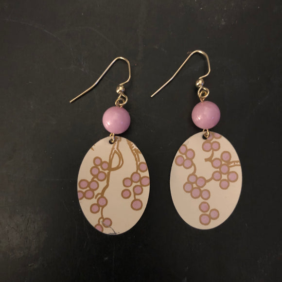 Pink Craspedia Flower Tin Earrings with Bead