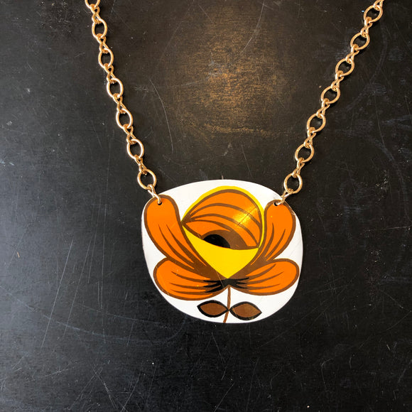 Large Orange and Brown Mid Century Flower Tin Necklace