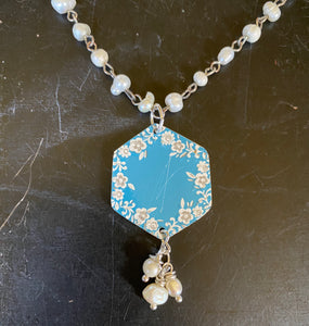 Blue with White Floral Tin Necklace with Freshwater Pearls