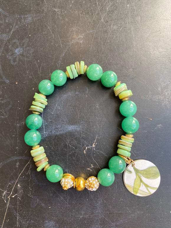 Jade and Shell Bead with Silver Tin Charm Bracelet