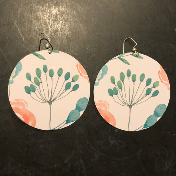 Large Turquoise Watercolor Flowers on White Circle Tin Earrings