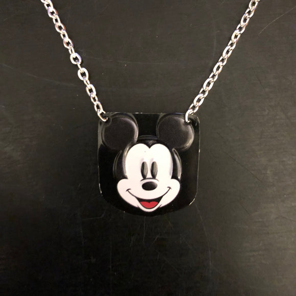 Smiling Mickey Tin Necklace