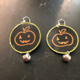 Smiley Pumpkin Circle Tin Earrings with Silver Pumpkin Beads