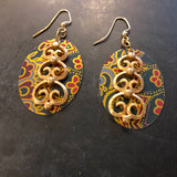 Large Paisley Oval with Gold Reclaimed Scroll Tin Earrings