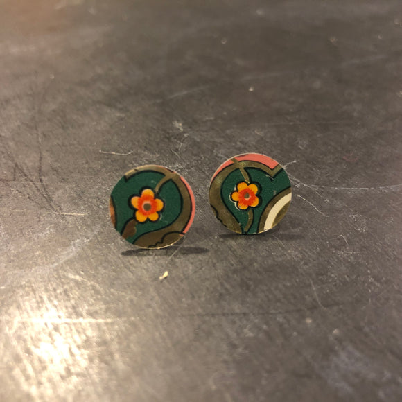 Post Small Green and Orange Flower Tin Earrings