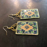 Navy Floral and Green Tin Earrings