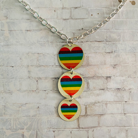 Three Tiered Rainbow Heart Circles Tin Necklace
