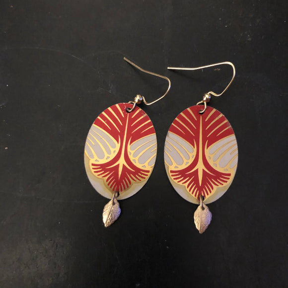Red and Gold Art Deco Tin Earrings with Gold Leaves