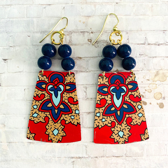 Red and Tan Tapestry Tin Earrings with Beads