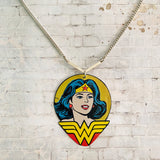 Wonder Woman Portrait with Logo Tin Necklace