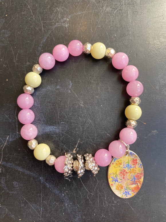 Pink and Yellow with Silver Tin Charm Bracelet