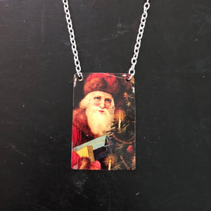 Santa with Candles Tin Necklace