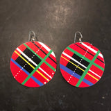 Large Circle Plaid Tin Earrings