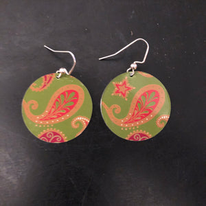 Green Paisley Circles Tin Earrings