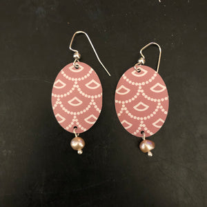 Pink and White Art Deco Tin Earrings with Pink Freshwater Pearl