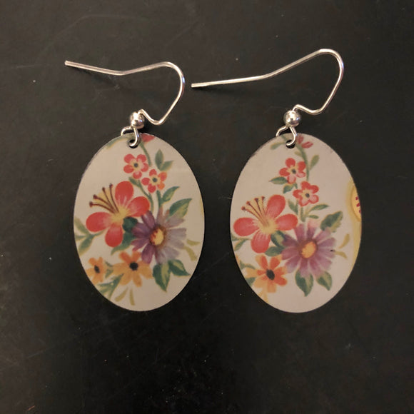 Pink and Lavender Flowers Tin Earrings
