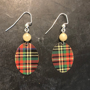 Small Classic Plaid Tin Earrings with Bead