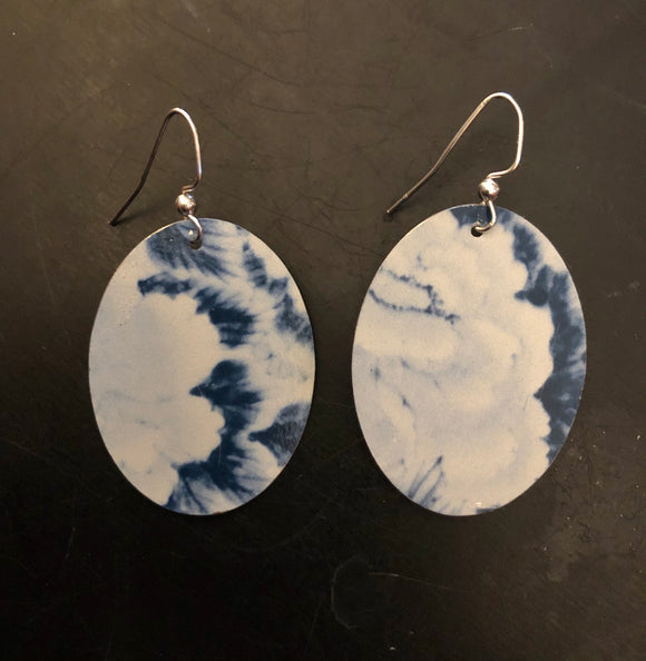 Blue and White Abstract Floral Tin Earrings