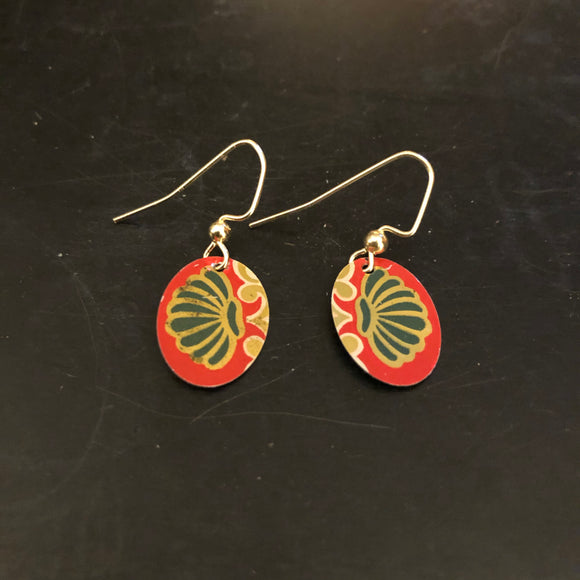 Green and Gold Scallop Oval Tin Earrings