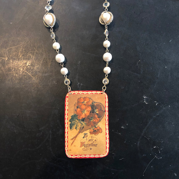 Pearl and Rhinestone Beaded Valentine Tin Necklace