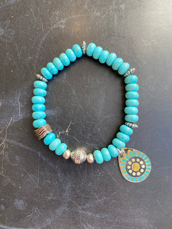 Natural Turquoise Bead with Silver Tin Charm Bracelet