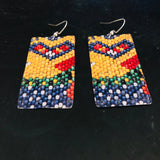 Colorful Faux Beads Rectangle Tin Earrings