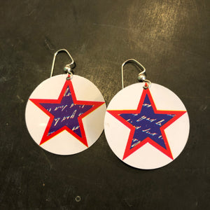 Large White Circle with Writing on Stars Tin Earrings