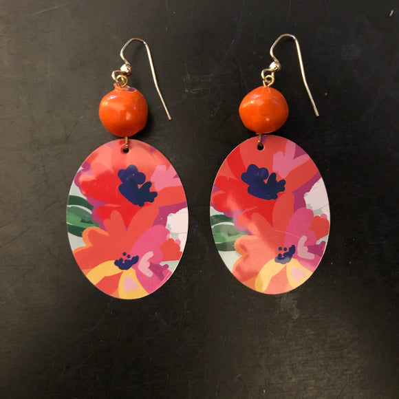 Pink and Orange Floral Tin Earrings with Orange Beads