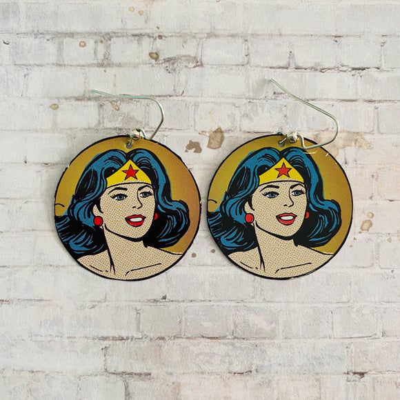Wonder Woman Portrait Tin Earrings