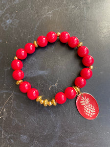 Red Glass and Gold Bead with Pineapple Tin Charm Bracelet