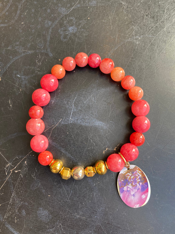 Bright Pink Glass with Gold Tin Charm Bracelet