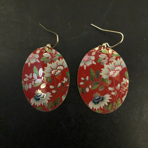 Red Asian Blue Floral Tin Earrings