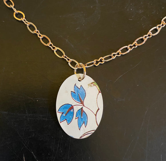 Blue Leaves Tin Necklace