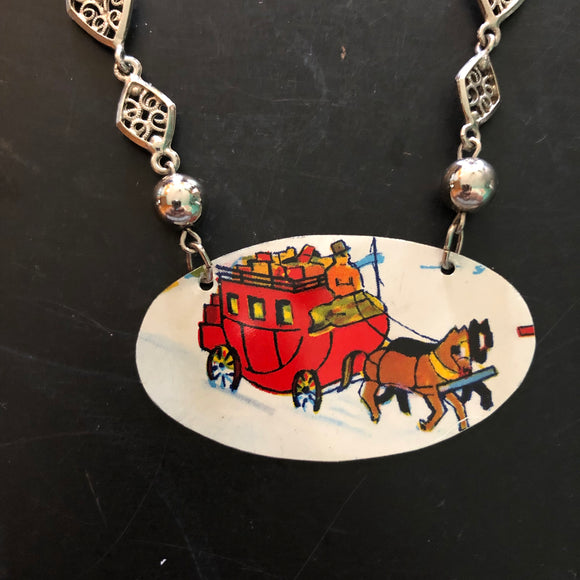 Winter Stage Coach Tin Necklace