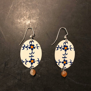 Medium Oval White Navy and Orange Floral Tin Earrings