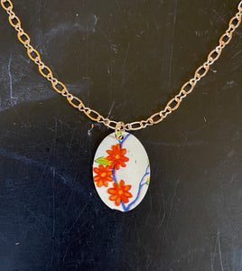 Orange Flowers Tin Necklace